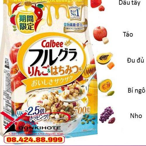 Ngũ cốc Calbee Nhật Bản thành phần dâu tây, táo, đu đủ, bí ngô, nho đầy đủ dưỡng chất