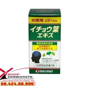 Thuốc bổ não Ginkgo Biloba Maruman Nhật Bản thành phần được chiết xuất từ lá bạch quả, dầu đậu nành, vitamin E