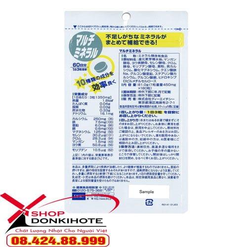 Viên uống bổ sung khoáng chất DHC Multi Minerals Nhật Bản chứa nhiều canxi