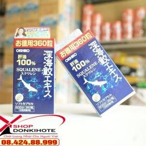 thành phần dầu gan cá mập 360 viên Orihiro của Nhật có omega 3.