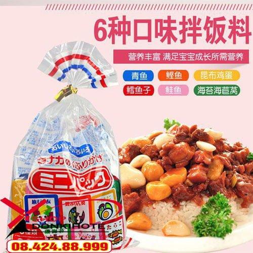 gia vị rắc cơm túi 30 gói 6 vị cho bé thay thế cho những bữa ăn cầu kỳ hằng ngày