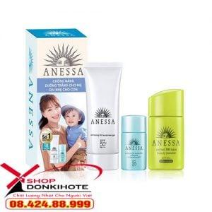 Kem chống nắng Anessa Essence UV Sunscreen Mild Milk màu xanh