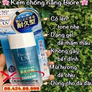 kem chống nắng Biore UV Aqua Rich Watery hương thơm dễ chịu