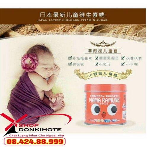 Kẹo chống biếng ăn Mama ramune của nhật bổ sung vitamin A, B6, C, D2, E, Ca và khoáng chất