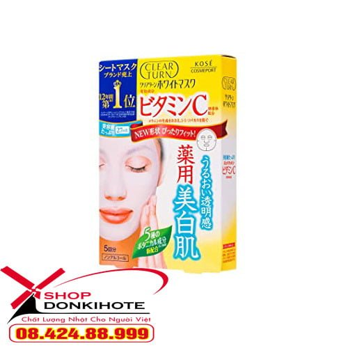 Mặt nạ Kose Clear Turn White Vitamin C giúp làm mờ các vết thâm sạm trên da, đẩy lùi các hắc tố