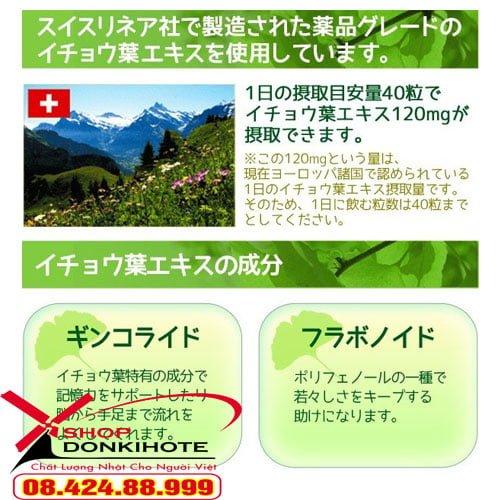 Tảo Supirurina kết hợp lá bạch quả 1200 viên của Nhật Bản mang lại hiệu quả dinh dưỡng cao
