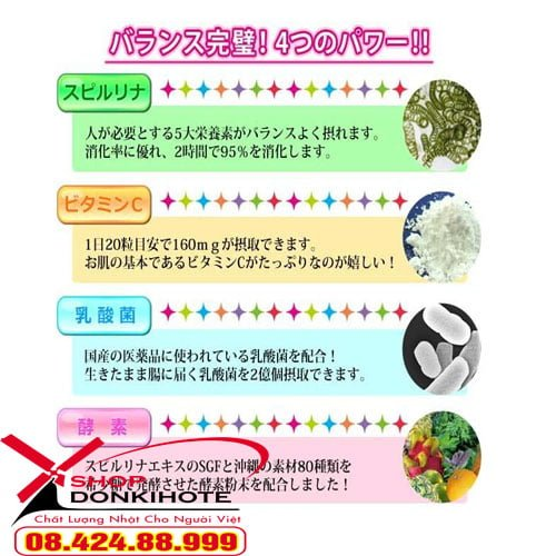 Tảo cao cấp Spimate cho trẻ biếng ăn Nhật Bản có những thành phần lợi khuẩn, kích thích tiêu hóa