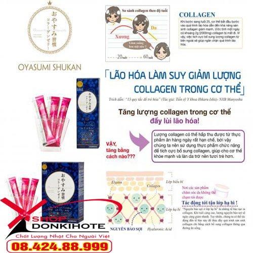 Thạch collagen oyasumi shukan hộp 10 gói của Nhật Bản giúp làm giảm quá trình lão hóa