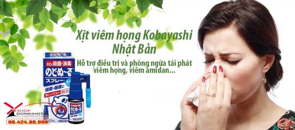Xịt chữa ho, kháng khuẩn, khử trùng hầu họng Kobayashi 15ml